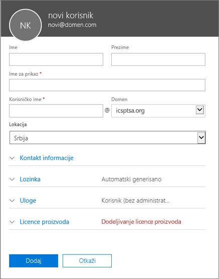 Snimak ekrana polja koja se popunjavaju prilikom dodavanja korisnika u usluzi Office 365 za preduzeća