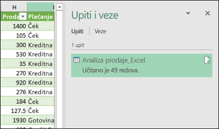 Power Query upiti i okno za veze