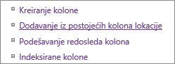"""Zatvaras iz programskog dodatka """"Dodaj postojeću stavku kolone"""" na stranici """"Postavke"""""""