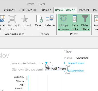 """ikona """"Filteri"""" pojavljuje se kad zadržite pokazivač na Power View vizuelizaciji"""