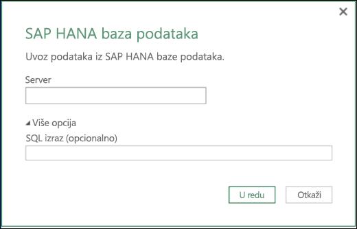 Excel Power BI – dijalog za uvoz u SAP HANA bazu podataka