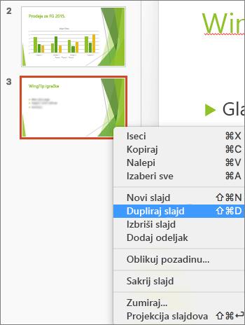 """Snimak ekrana prikazuje izabran slajd i izabranu opciju """"Dupliranje slajdova"""" u priručnom meniju."""