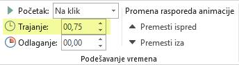 """Opcija """"Trajanje"""" za efekte animacije u programu PowerPoint"""