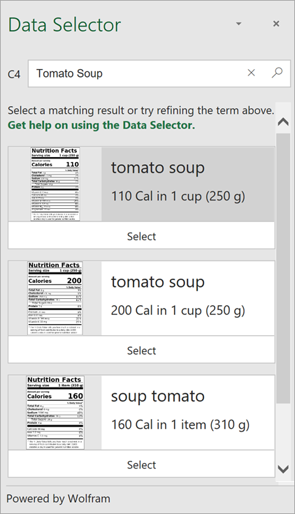 """Screenshot of the Data Selector showing multiple results for """"Tomato Soup"""" (""""Supa od palaca"""")."""