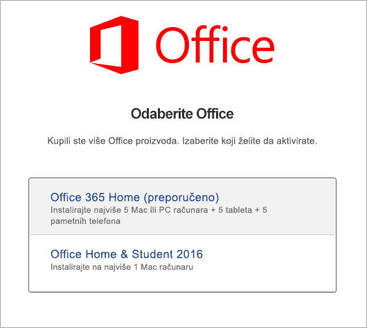 Odaberite tip licence za Office 2016 za Mac