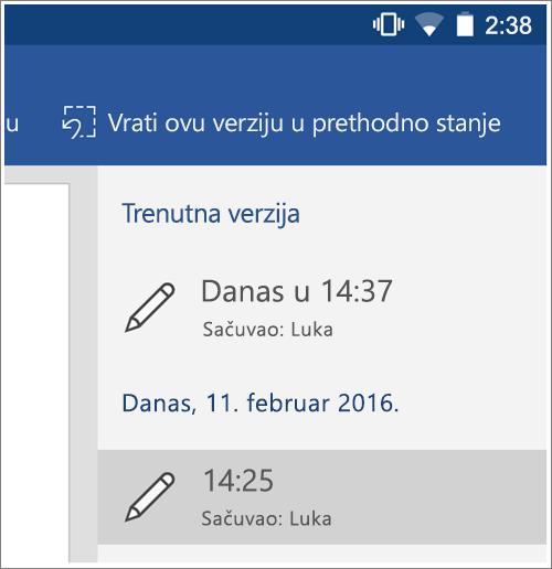 Snimak ekrana opciju istorija za vraćanje prethodne verzije u Android.