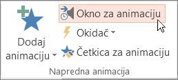 """Otvaranje okna """"Animacija"""""""