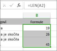 Primer funkcije LEN