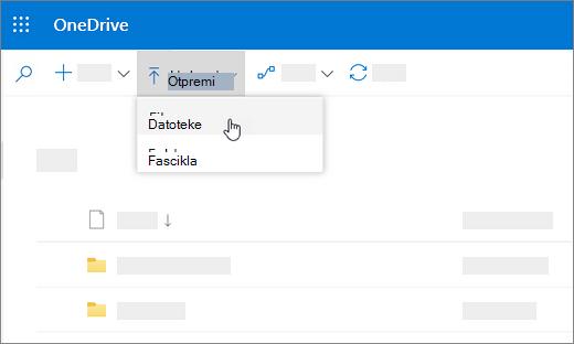 """Snimak ekrana na kojem je izabrana stavka """"Otpremi"""""""
