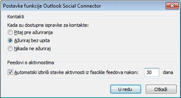 "Dijalog ""Postavke funkcije Outlook Social Connector"""