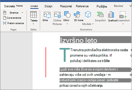 Office 365 Word slike, SmartArt i grafikoni