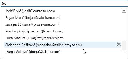 """Na listi za automatsko dovršavanje izaberite ime koje želite da uklonite, a zatim kliknite na dugme """"Izbriši""""."""