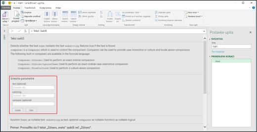 Excel Power BI – kontrole umetnutog unosa za pozivanje funkcije u uređivaču upita