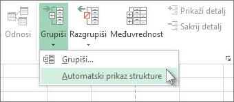 Kliknite na strelicu ispod stavke Grupa, a zatim izaberite Automatski prikaz strukture
