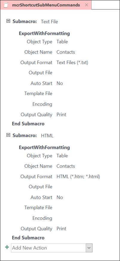 Snimak ekrana makroa u programu Access sa dva submacros