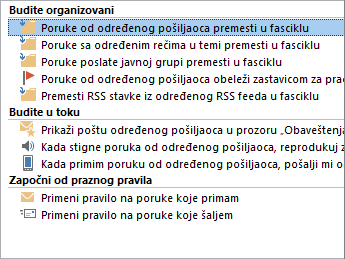 Outlook čarobnjak za pravila