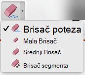 Na Mac računaru, PowerPoint za Office 365 ima četiri gumice za digitalni mastilo.
