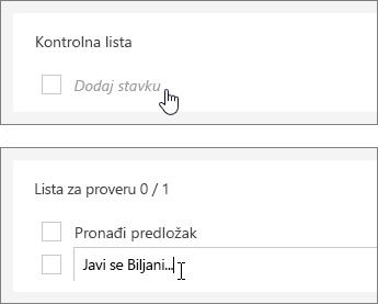 Dodavanje liste za proveru za zadatak