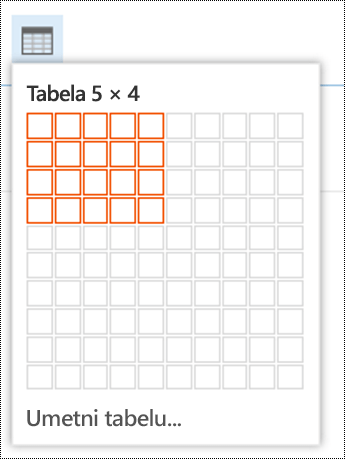Dodajte jednostavnu tabelu u usluzi Outlook na vebu.