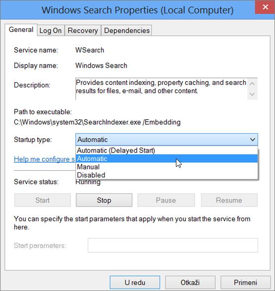 Snimak ekrana u dijalogu sa svojstvima za pretragu operativnog sistema Windows prikazuje postavku automatski izabran za tip pokretanja.