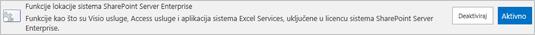 Aktiviranje funkcije SharePoint Server Enterprise lokacije