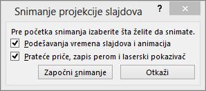 """Prikazuje dijalog """"Snimi projekciju slajdova"""" u programu PowerPoint"""
