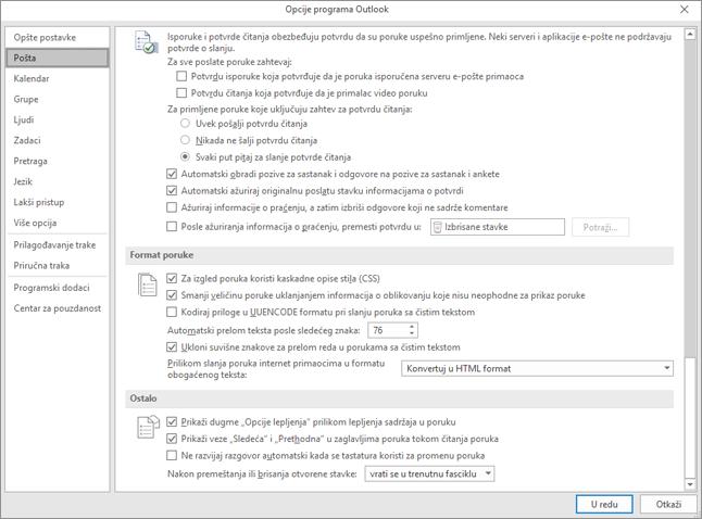 Stranice sa pošte kategorije istaknutim opcijama programa Outlook