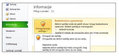 """Oblast """"Bezbednosno upozorenje"""" kada nije moguće imati poverenja u datoteku"""