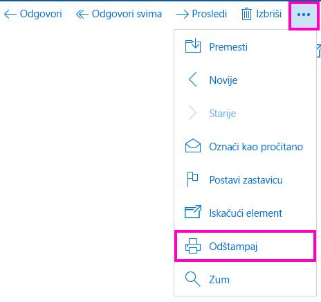 """Štampanje e-poruke u aplikaciji """"Pošta"""" za Windows 10"""