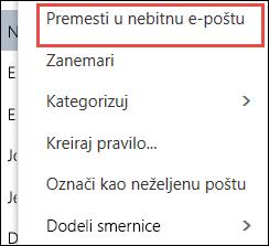 """Premeštanje u funkciju """"Nebitna e-pošta"""""""