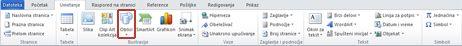 """Kartica """"Umetanje"""" sa istaknutom stavkom """"Oblici"""" u programu Word 2010"""
