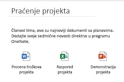 Ugrađene datoteke na stranici u programu OneNote za Windows 10