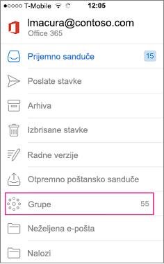 Grupe je čvor na listi fascikli u programu Outlook mob