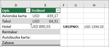 #VALUE! grešaka nestaje, a zamenjuje je rezultat formule. Zeleni trougao u ćeliji E4