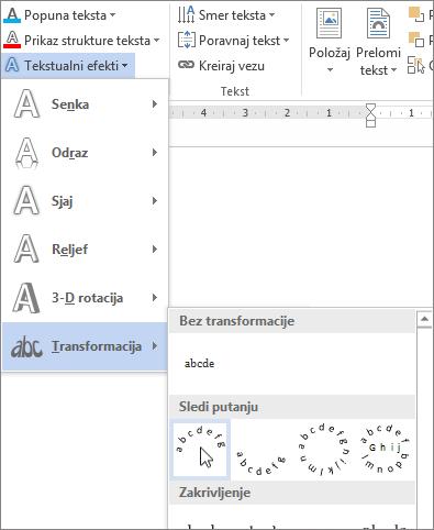 Izbor efekta teksta zakrivljene transformacije