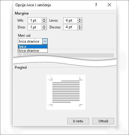 Senčenje ivice stranice