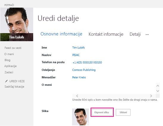 """Snimak ekrana dijaloga """"Promena slike"""" u sistemu SharePoint sa markiranim dugmetom """"Otpremi sliku"""""""