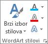 """Grupa """"WordArt stilovi"""" koja prikazuje samo ikone"""