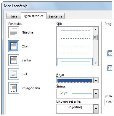 Opcije postavki za ivice stranice