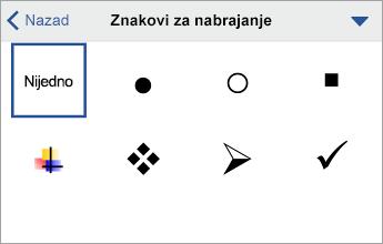 """Komanda """"Znakovi za nabrajanje"""" koja prikazuje opcije oblikovanja"""