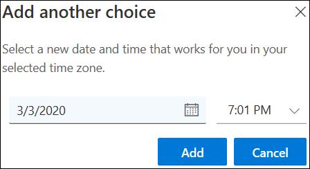 Dodavanje drugog izbora sastanka