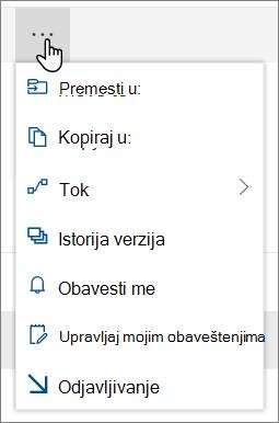"""Opcije """"premesti u i Kopiraj u"""" u gornjoj navigaciji za SharePoint Online kada su datoteke ili fascikle izabrane"""