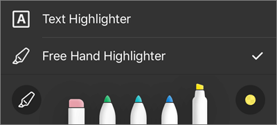 Postavke usluge OneDrive for iOS PDF Markup markera