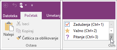 Snimak ekrana liste oznaka u programu OneNote 2016.