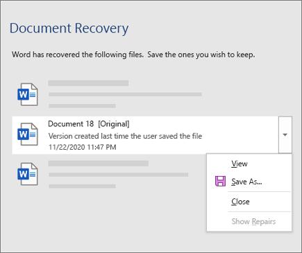 Originalni dokument koji je poslednji sačuvan od strane korisnika navedenog u oknu za oporavak dokumenta