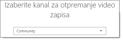 Office 365 Video izbor kanala za otpremanje video zapisa