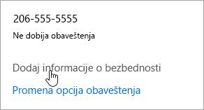 Snimak ekrana dugmeta Dodaj bezbednosne informacije.