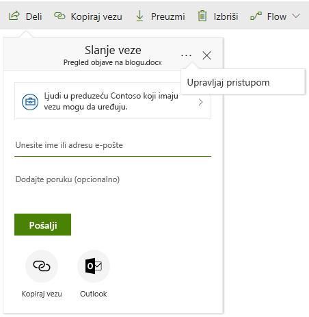 Snimak ekrana dijaloga za deljenje sa upravljanje Access koji prikazuje vezu nakon klika na dugme sa tri tačke.