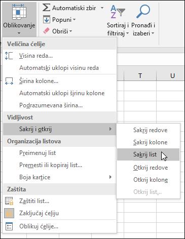 Skriveni ili otkrivanje radnih listova iz kuće > ćelije > oblikovanje programa Vg_ vidljivost