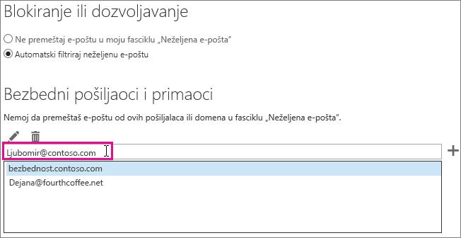 Dodavanje sigurnih pošiljalaca u programu Outlook Web App